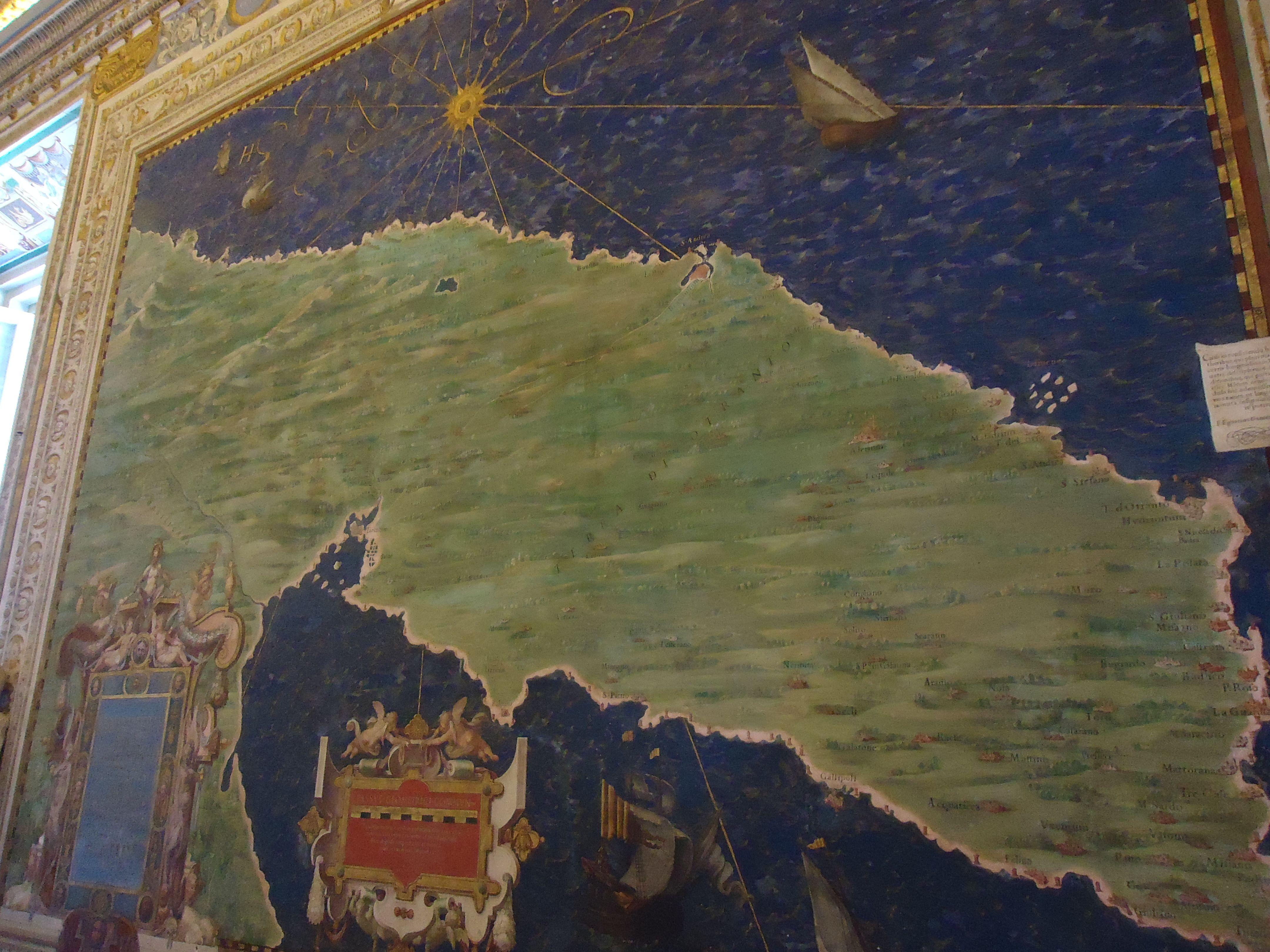 Landkaart in het Vaticaans museum - Rome