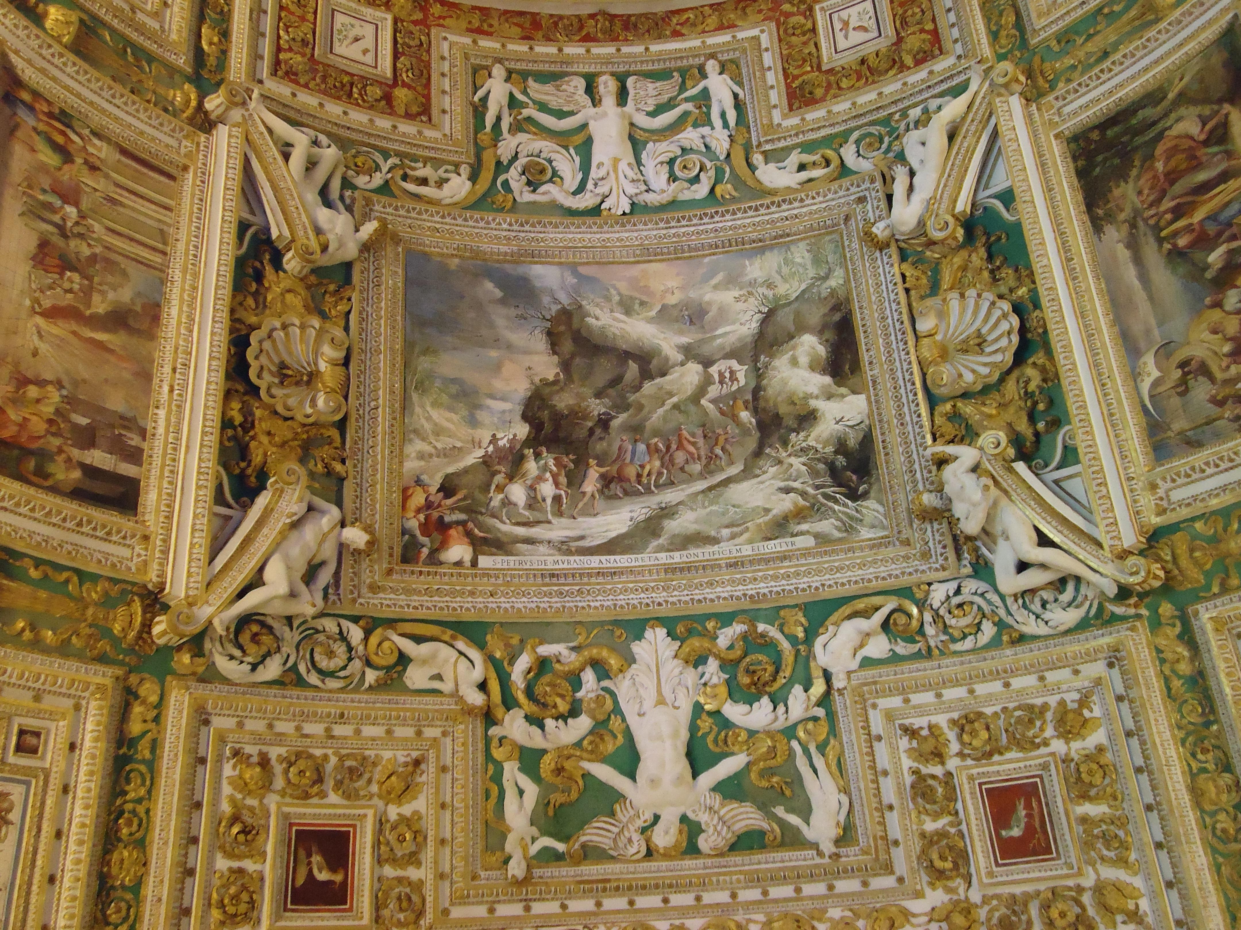 Detail plafond van de galerij met landskaarten - Vaticaans museum - Rome
