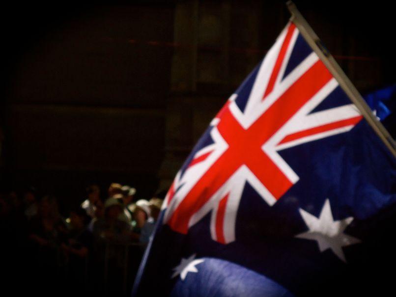 Australische vlag tijdens Australia Day parade
