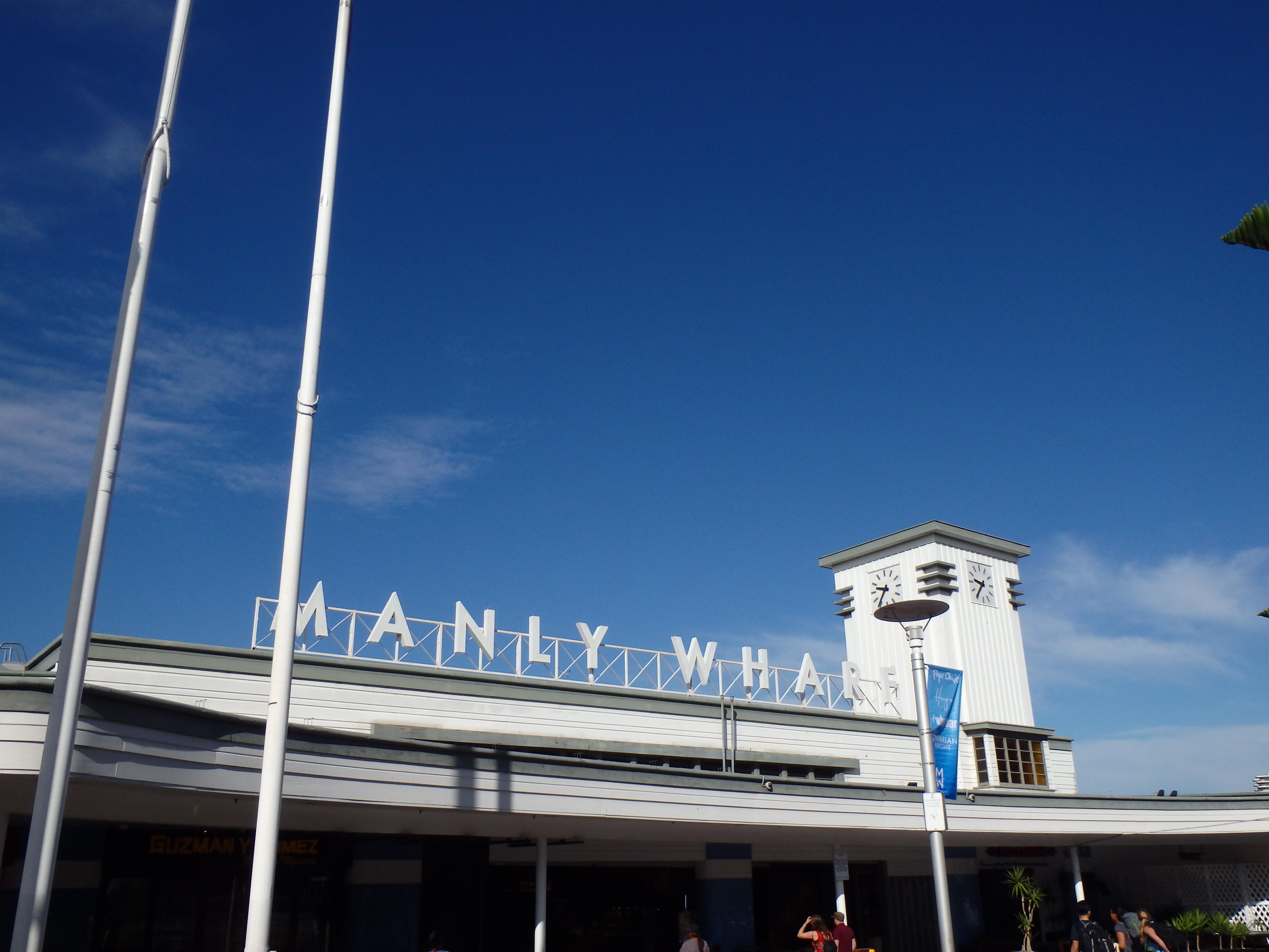 Manly Wharf, eerste zicht bij aankomst met ferry