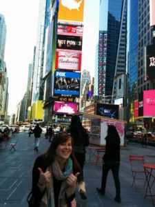 Ik op Times Square, NYC