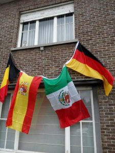 Vlaggen voor het WK-voetbal (België-Spanje-Mexico-Duitsland)