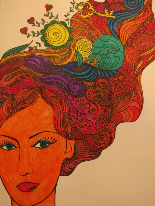 Ingekleurde tekening portret vrouw met weelderig haar, in het haar andere tekeningen