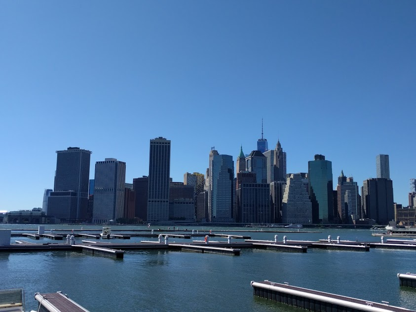 Brooklyn Bridge Park - zicht op downtown nyc