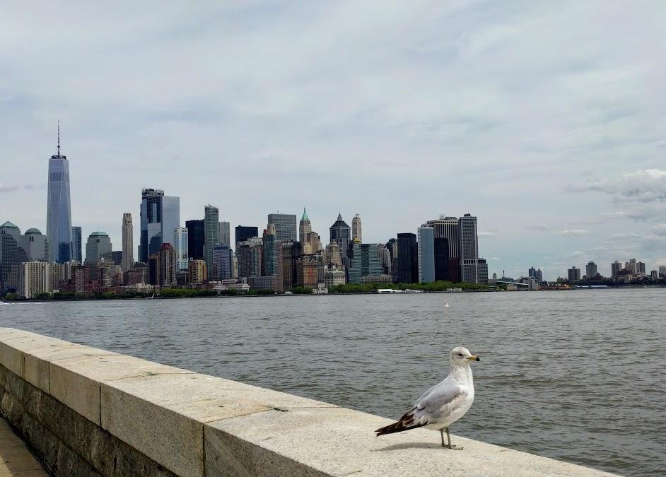 Zicht vanuit Ellis Island op New York City