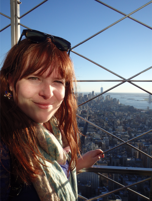 Davina op Empire State Building, zicht op One Tower