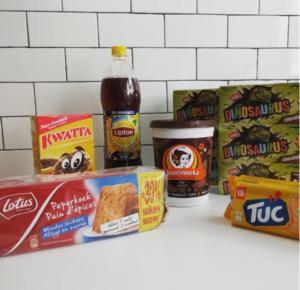 Belgische producten - Kwatta hagelslag - Ice Tea Lipton, sprankelend - Choco Boerinneke - Dinosauruskoekjes - LU peperkoek - TUC koekjes