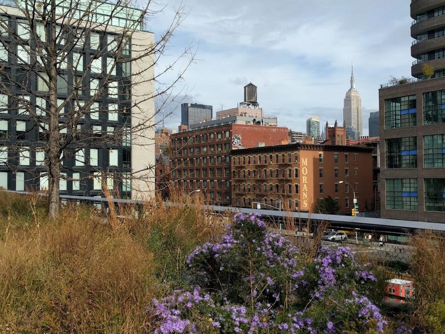 De High Line in de herfst met zicht op Empire State Building