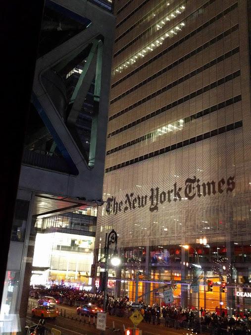 New York Times building, mensenmassa voor Oudejaar
