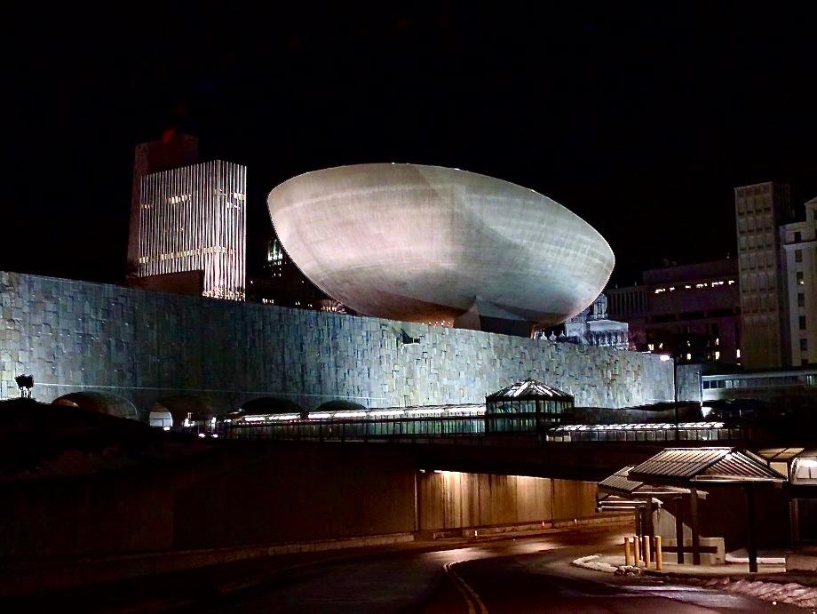 Speciaal gebouw in de vorm van een soort ei, The Egg, Albany, NY