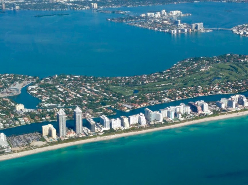 South Beach Miami vanuit de lucht