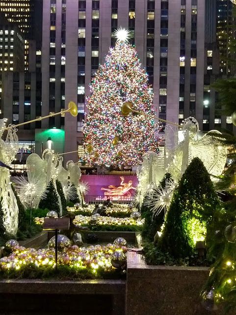 Rockefeller Plaza tijdens de Kerst in New York City