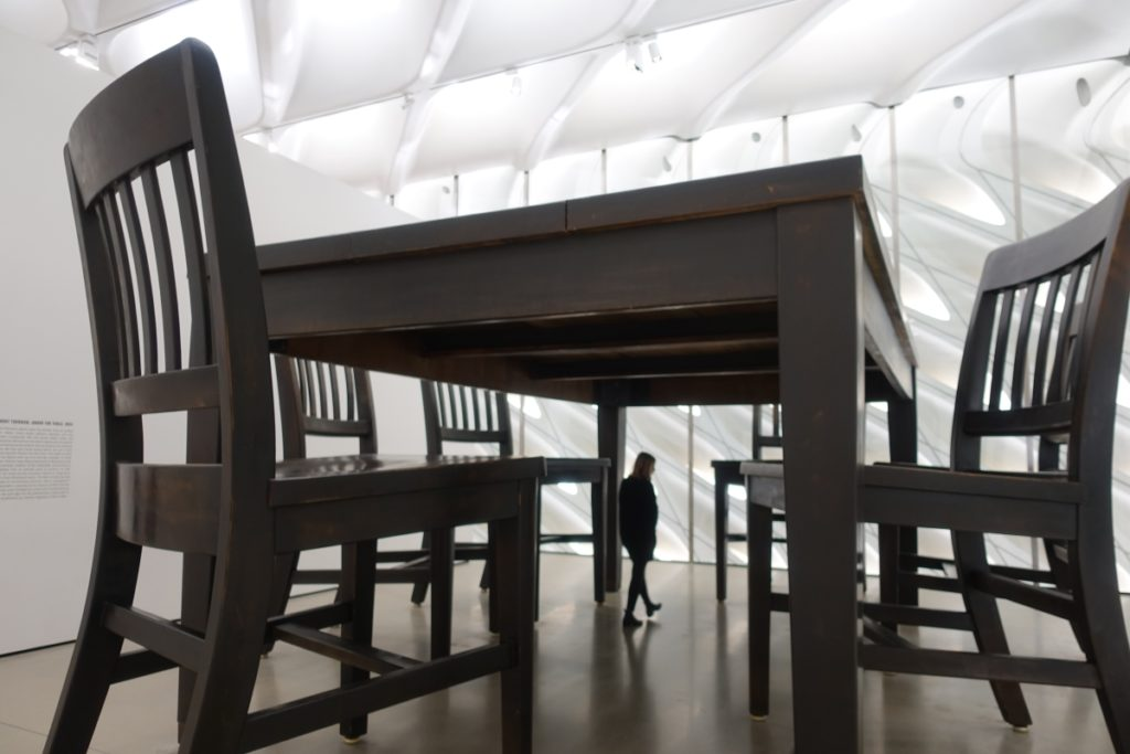The Broad, downtown LA, Therrien, Under the table