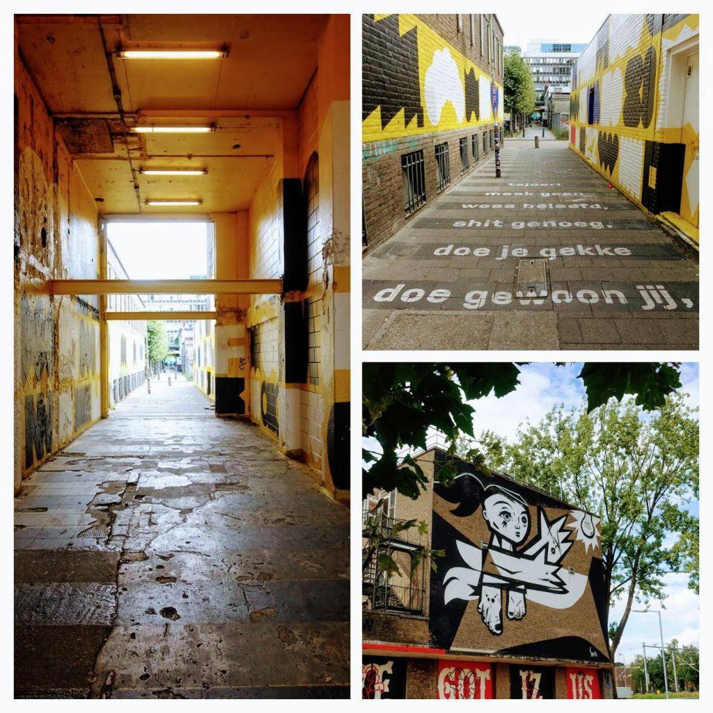 """Start luchtsingel, mural meisje, """"doe je gekke, doe gewoon jij"""" Rotterdam"""