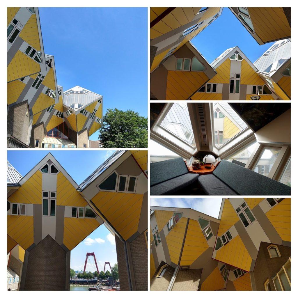 Fotocollage gele kubussen Rotterdam