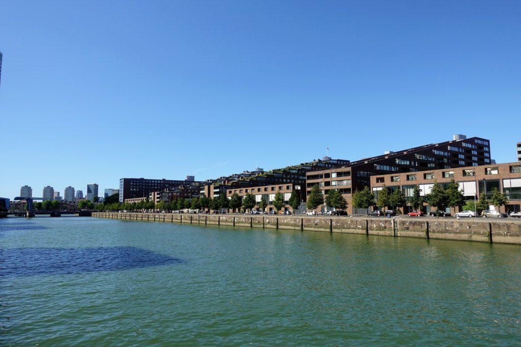 Spoorweghaven in Rotterdam met residenties en schuine daken met groene dakterrassen