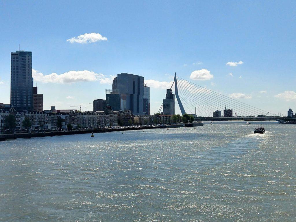 Zicht op het water, de Nieuwe Maas in Rotterdam en Kop van Zuid, Wilhelminapapier en Erasmusbrug