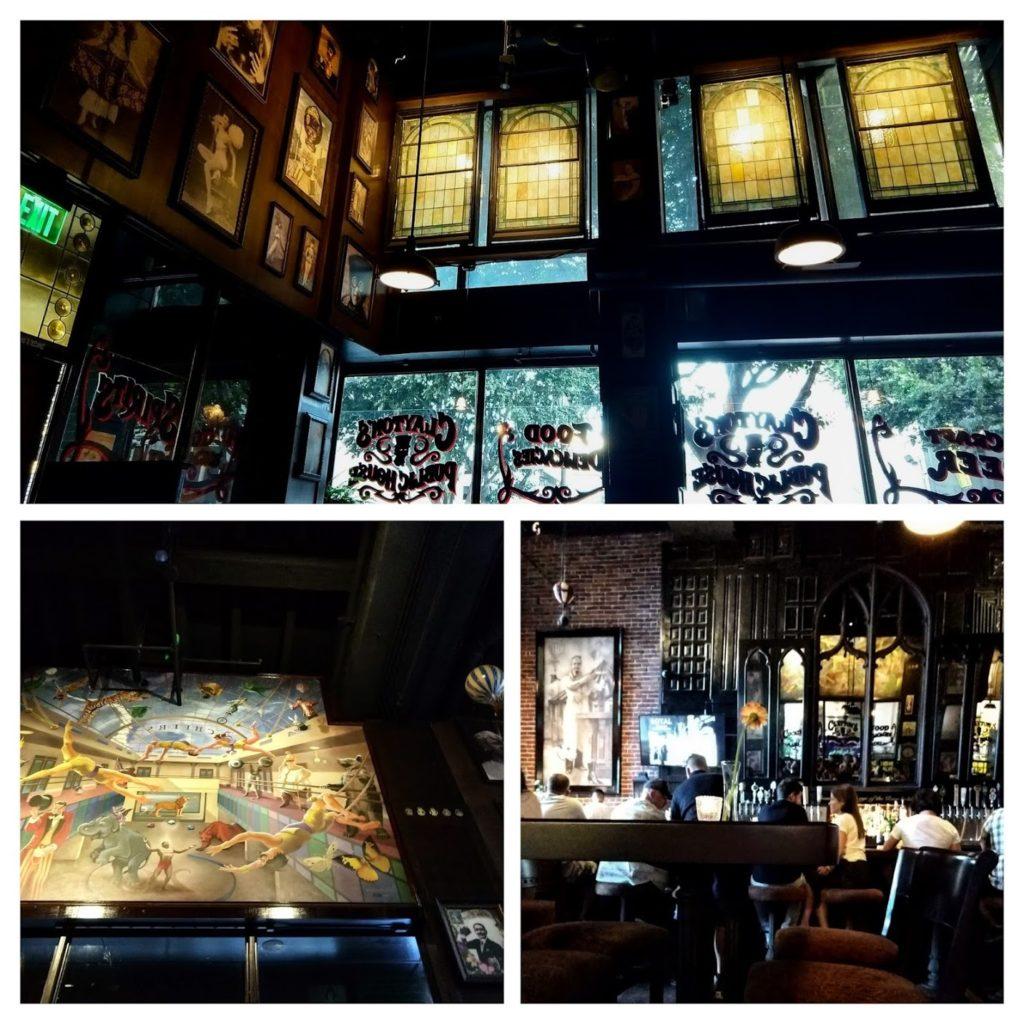 Clayton's Public House interieur, donker hout, glasramen, schilderij circus, etc. downtown LA