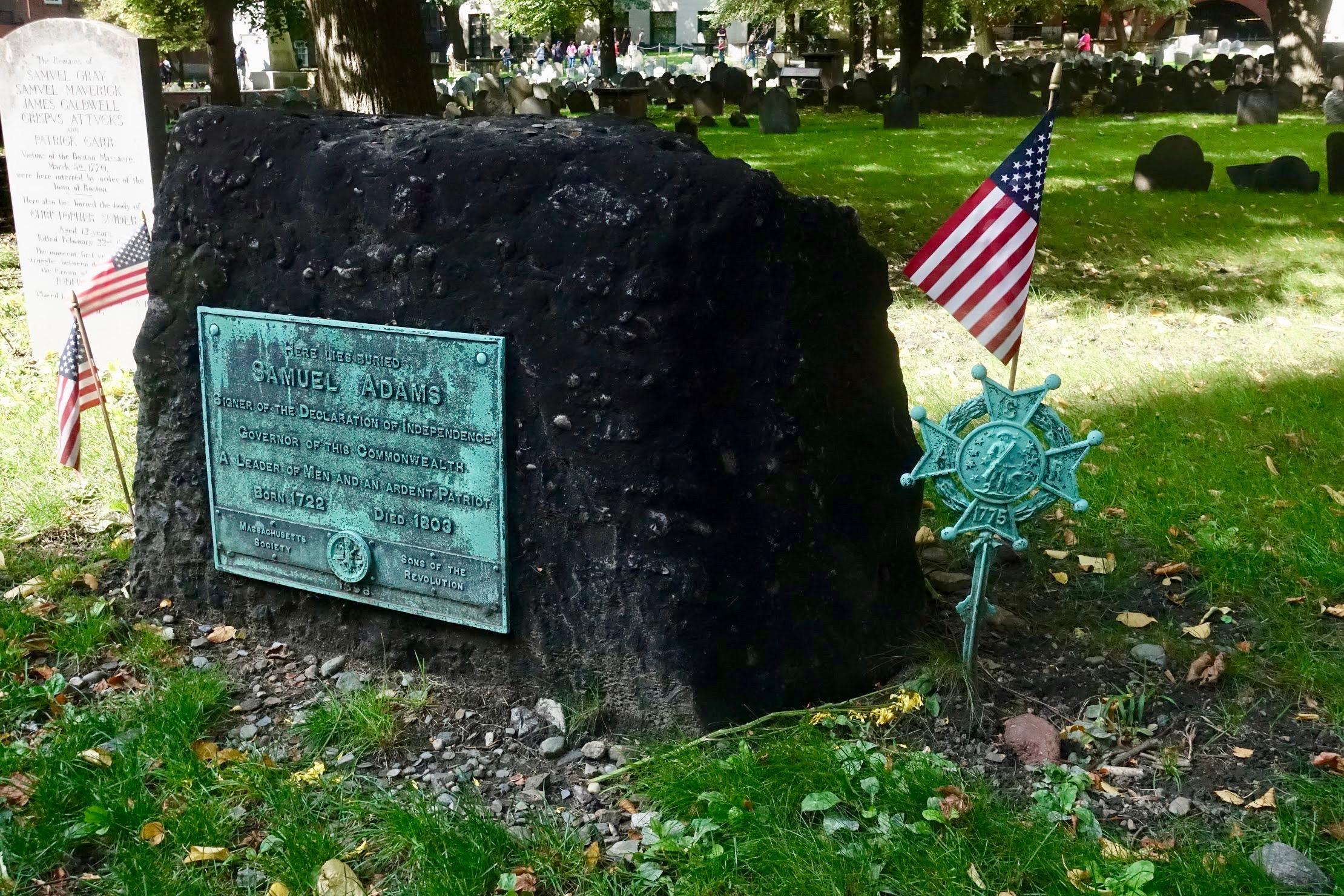 Samuel Adams rustplaats op het kerkhof in Boston