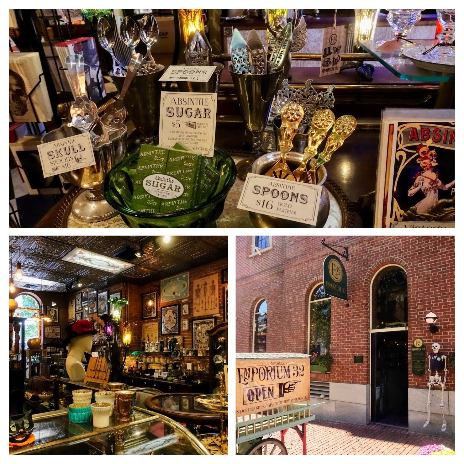 Emporium 32 in Salem met vintage spullen zoals oude hoeden, juwelen, posters en absinthe-lepels