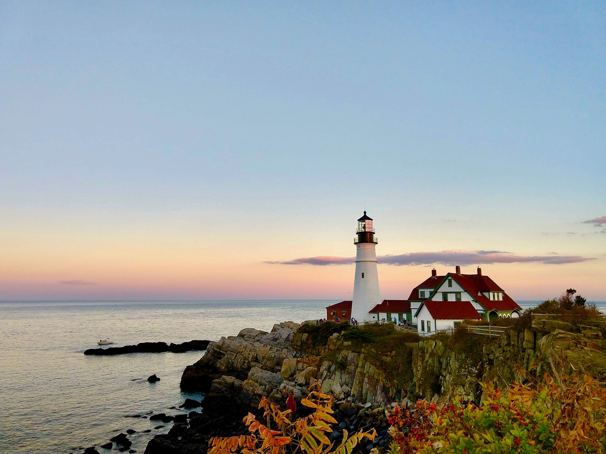 Portland Head Light in Cape Elizabeth bij zonsondergang in Maine